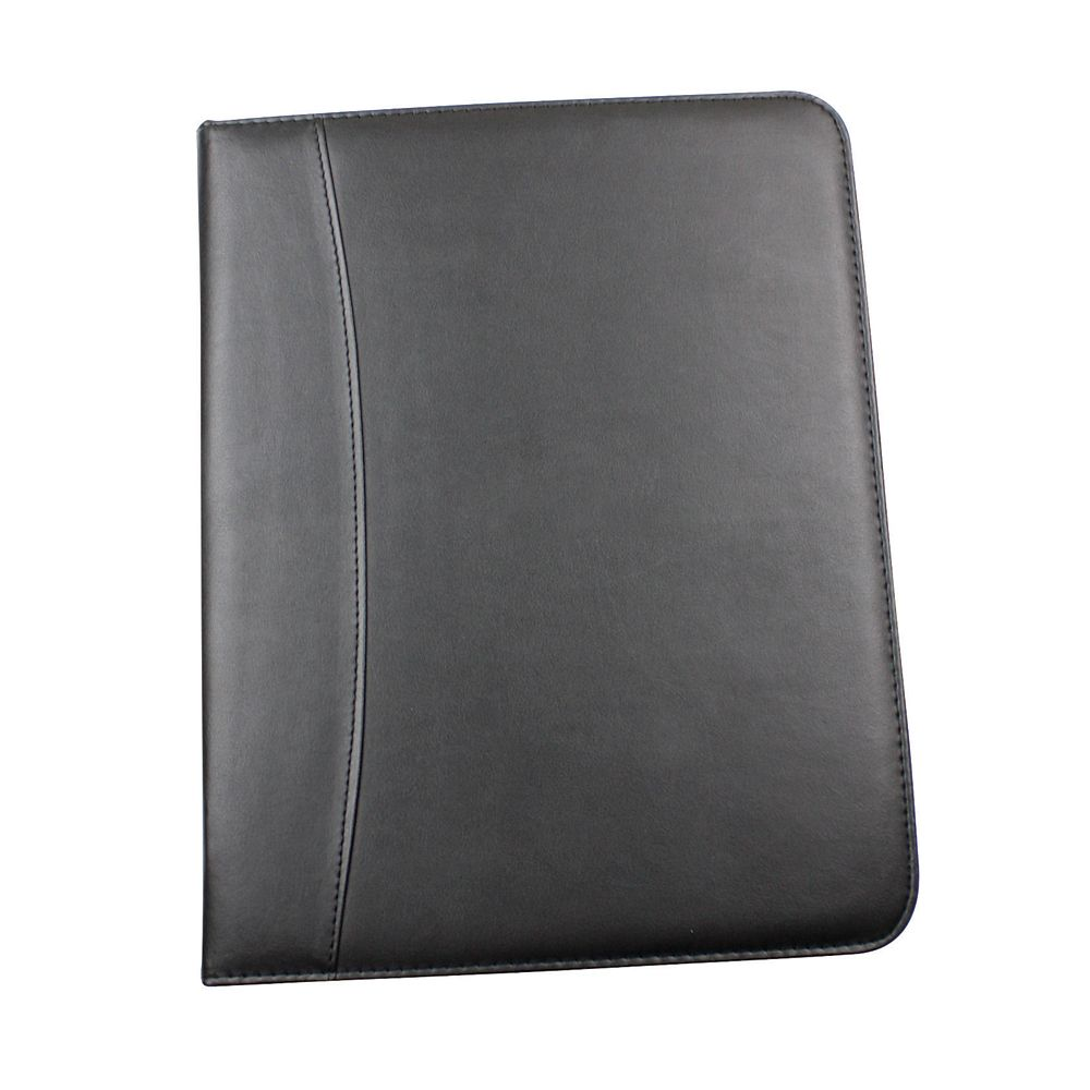 executive black leather look a4 zipped conference folder
